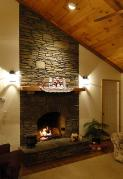 Real Stone Fire Place with Wood Ceiling